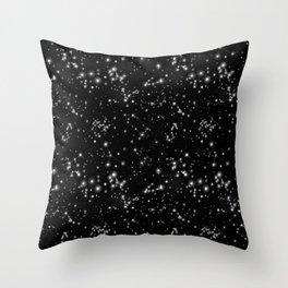 Black Galaxy Constellation Star Pattern Throw Pillow