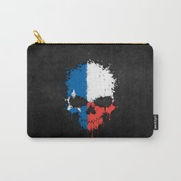 Flag of Texas on a Chaotic Splatter Skull Carry-All Pouch