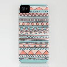Tribal #4 (Coral/Aqua) iPhone (4, 4s) Slim Case