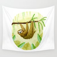 sloth Wall Tapestries featuring Sloth by Kirsten Sevig
