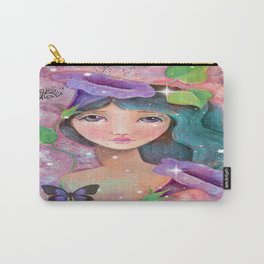 Whimiscal Girl with Morning Glories Carry-All Pouch