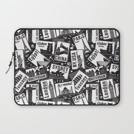 Retro Postcards // black and white Laptop Sleeve