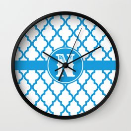 Blue Monogram: Letter N Wall Clock