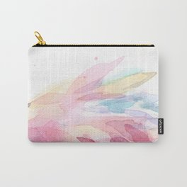 Pink Flamingo Soft Feathers Pastel Watercolor Texture Carry-All Pouch