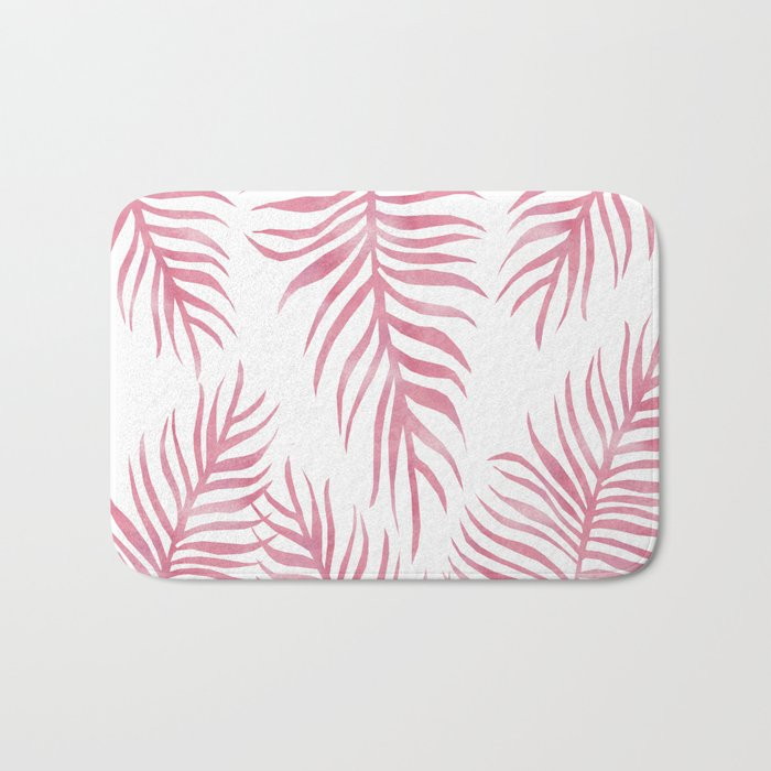Fern Pattern Pink Bath Mat