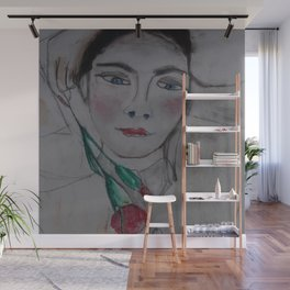 Girl with red carnation Wall Mural