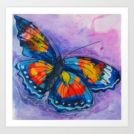 Butterfly_ Blue and violet background, 24 X 24 acrylic original artwork Art Print