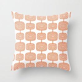 Mid Century Modern Atomic Rings Pattern Orange 3 Throw Pillow