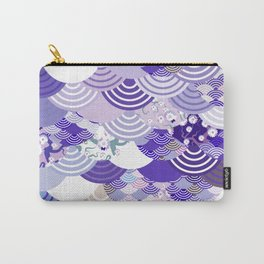 Nature background with japanese sakura flower, Cherry, wave circle. Ultra Violet Color of the Year Carry-All Pouch