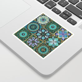 Colorful floral seamless pattern from squares Sticker