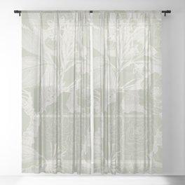 Floral, Rose, Vintage Print, Olive Green Sheer Curtain