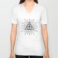 all seeing eye V-neck T-shirts featuring All seeing eye by Zak Rutledge