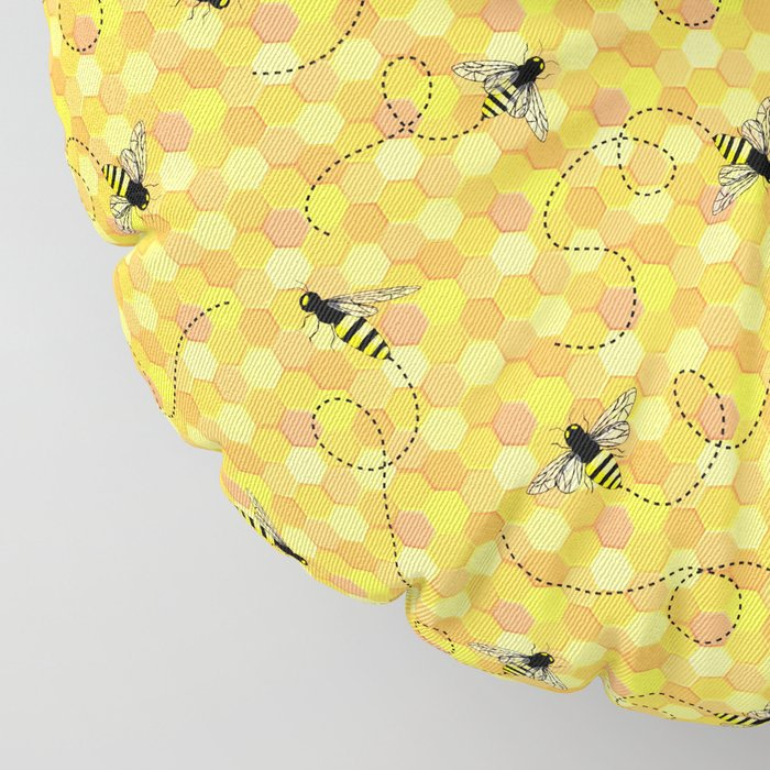 Bees on Honeycomb Pattern Floor Pillow