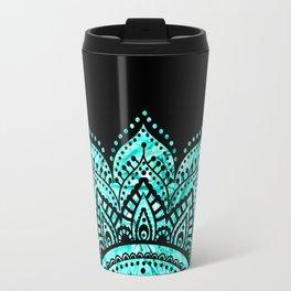 Black teal mandala Travel Mug