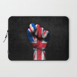 Union Jack Flag of The United Kingdom on a Raised Clenched Fist Laptop Sleeve