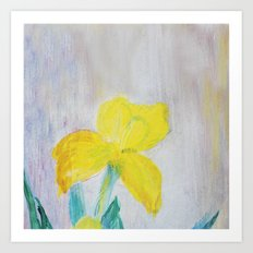 yellow summer iris Art Print