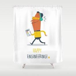 Happy Engineering Shower Curtain