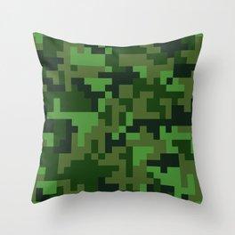 Green Jungle Army Camo pattern Throw Pillow