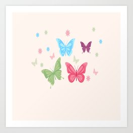 Butterfly Group Of Colorful Butterflies Art Print