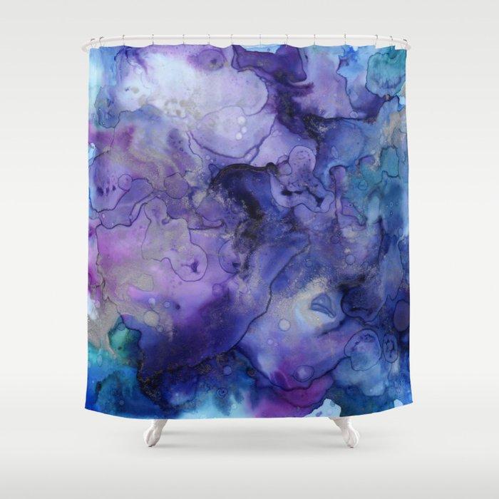 Abstract Watercolor Coastal Indigo Blue Purple Shower Curtain