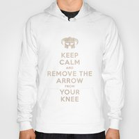 skyrim Hoodies featuring Keep Calm And Remove The Arrow From Your Knee by Royal Bros Art