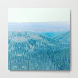 teal blue pine forest and wooded area nature landscape print Metal Print