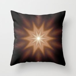 Brown Mandala Star Throw Pillow