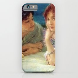 Paolo and Francesca in Love in Fields of Aster on Hillside of Coast of Tuscany, Italy iPhone Case