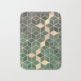 Gold Emerald green Gradient Cube Art print Bath Mat