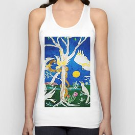 Nude  scared by Cockatoos     by Kay Lipton Unisex Tank Top
