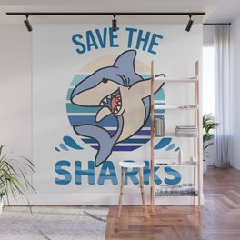 Save The Sharks Wall Mural