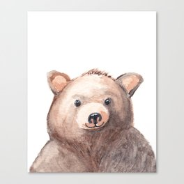 Woodland Animal, Bear, Head, Watercolor, Nursery Canvas Print