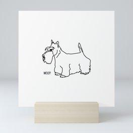 Scottish Terrier Dog woof (b/w) Mini Art Print