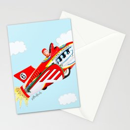 """Up, up and away!"", the rocket man yelled.  Stationery Cards"