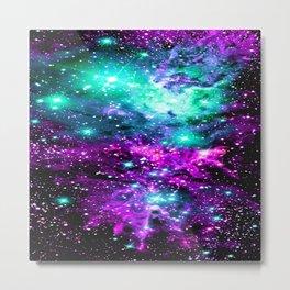 Fox Fur Nebula Teal Pink Purple Metal Print