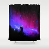 nebula Shower Curtains featuring nEbulA : Horsehead Nebula Fuchsia & Violet by 2sweet4words Designs