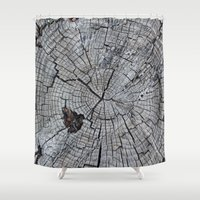 tree rings Shower Curtains featuring Rings by Elizabeth Velasquez