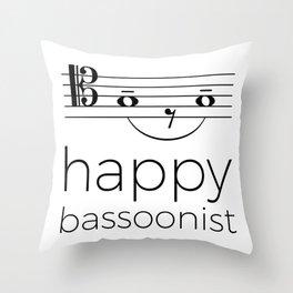 Happy bassoonist (light colors/tenor clef) Throw Pillow