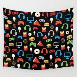 Video Game Party Snack Pattern Wall Tapestry