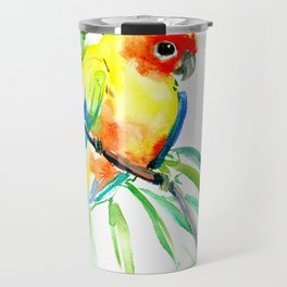 Sun Conure Parakeet, tropical yellow green bird decor Travel Mug