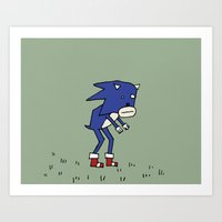 Sad Sonic The Hedgehog In A Field Art Print