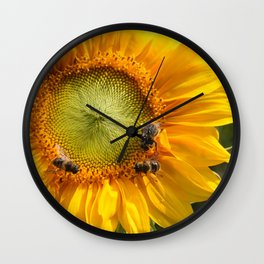 Sunflower and bees Wall Clock