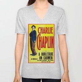 Charlie Chaplin - A Burlesque on Carmen, 1916 Vintage Poster for Wall Art, Prints, Poster, Tshirts, Men, Women, Kids Unisex V-Neck