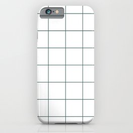 Graph Paper (Dark Green & White Pattern) iPhone Case