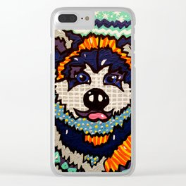 Larry Designer Dog Series Puppy Colorful Bright Huskey Eskimo Sleddog Siberian Chinook Breeds Clear iPhone Case