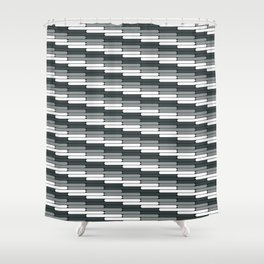 Staggered Oblong Rounded Lines Pattern PPG Night Watch Pewter Green Shower Curtain