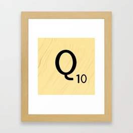 Scrabble Q - Large Scrabble Tile Letter Framed Art Print