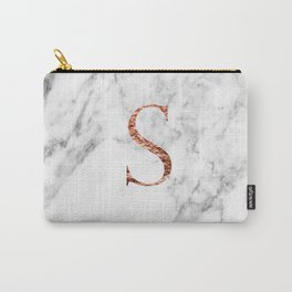 Monogram rose gold marble S Carry-All Pouch
