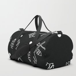 Print with flowers and dots in a black background for clothes and gifts Duffle Bag