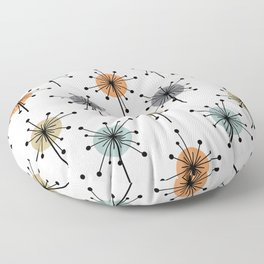 Midcentury Sputnik Starburst Flowers Colorful Floor Pillow